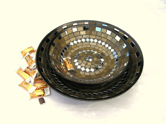 RESERVED for INHARA O. Custom order - Golden fruit platters home decor glass mosaic