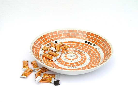 Platter large orange tangerine glass mosaic art modern home decor