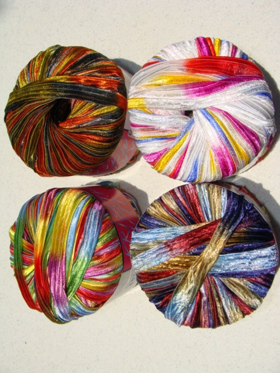Ribbon Yarn : Italian Yarn Filati FF Krista Multi Embelishment Ribbon Yarn 60 Yards ...