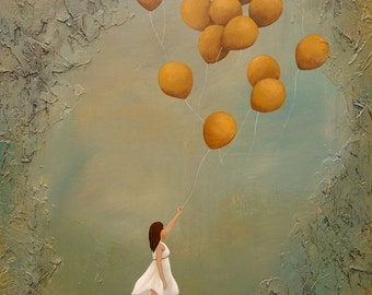 Balloon Releasing Art Print, titled Being Free, reprodocution of my original painting