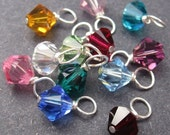 RESERVED Swarovski Crystal Dangles Wire Wrapped 6mm Bicone Birthstone Mix Charm Month Colors CHOOSE THREE