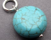 Turquoise Howlite Sterling Silver Wire Wrapped Coin Pendant Dangle Charm with Sterling Silver Jump Ring