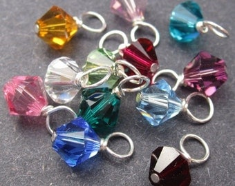 RESERVED Swarovski Crystal Dangles Wire Wrapped 6mm Bicone Birthstone Charm Month Colors CHOOSE THREE