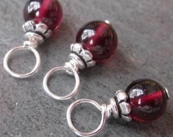 Garnet Birthstone Charms, January Birthstone, Garnet Jewelry, Stitch Markers, Wire Wrapped Bead Dangles, Garnet Dangles, Garnet Drops 5mm