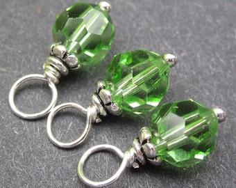 Peridot Birthstone Charms, Peridot Swarovski Crystal Charm, Bead Dangles, Stitch Markers, Wine Glass Charms, 6mm Swarovski Beads