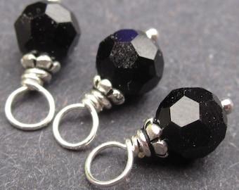 Swarovski Crystal Charms, Jet Black Swarovski Crystal Beads, Interchangeable Earrings, Wire Wrapped Dangles, Stitch Markers, 6mm