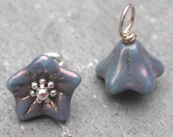 Flower Dangles, Steel Blue Czech Bell Flower Charms,  Wire Wrapped Bead Dangles, Stitch Markers, Bracelet Charms, Interchangeable Earrings