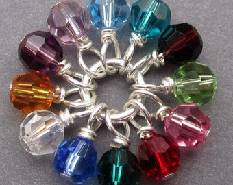 Swarovski Crystal Birthstone Charms, Stitch Markers, 4mm Swarovski Crystal Beads, Bracelet Charms, Add a Dangle, Birthstone Mix 4mm