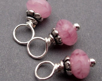 Wire Wrapped Bead Dangles, Wine Charms, Stitch Markers,  Pink Swirl Czech Glass with Petite Bead Caps