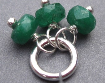 Emerald Gemstone Trio, Emerald Birthstone Charm, May Birthstone Pendant, Emerald Jewelry, Interchangeable Earrings Pendant