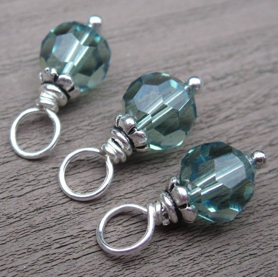 Erinite Swarovski Crystal Wire Wrapped Bead Dangles Charms with Petite Bead Caps 6mm
