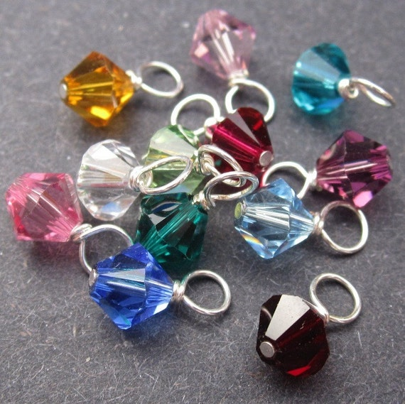 Swarovski Crystal Dangles Wire Wrapped 6mm Bicone 12 Birthstone Charm Month Colors