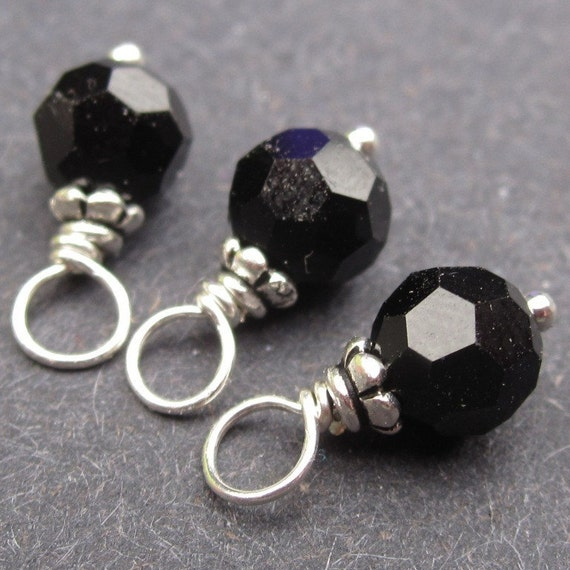 Swarovski Crystal Dangles Charms Jet Black Wire Wrapped with Petite Bead Caps 6mm
