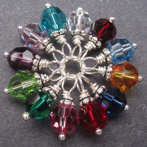 Swarovski Crystal Wire Wrapped Dangles Birthstone Charms Mix 6mm Reserved for Melissa Nelson