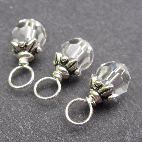 Swarovski 6mm Crystals Wire Wrapped Dangle Birthstone Charms with Flower Bead Cap