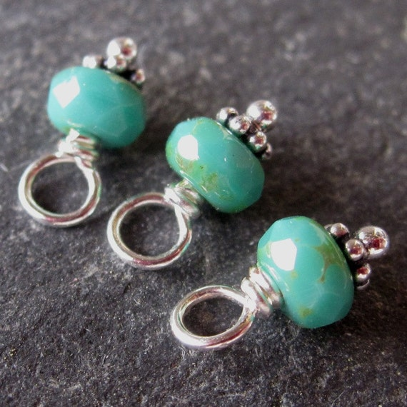 Turquoise Picasso Czech Glass  Wire Wrapped Beads with Sterling Silver Daisy Spacers