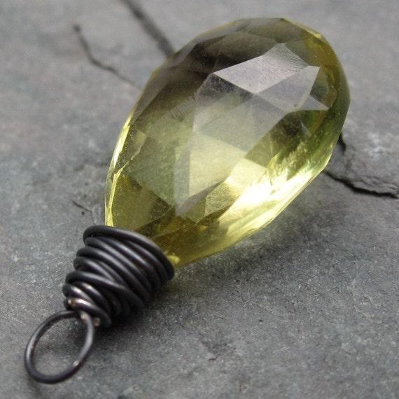 Pendant Oxidized Sterling Silver Wire Wrapped Lemon Quartz Briolette Dangle