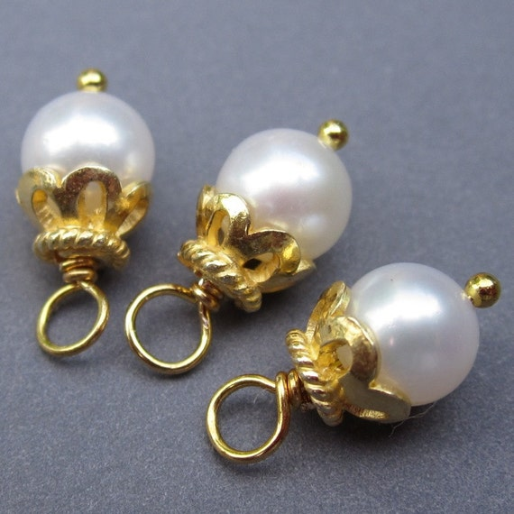 Freshwater Pearl Wire Wrapped Dangles Charms with 24k Gold Vermeil Bead Caps 6mm
