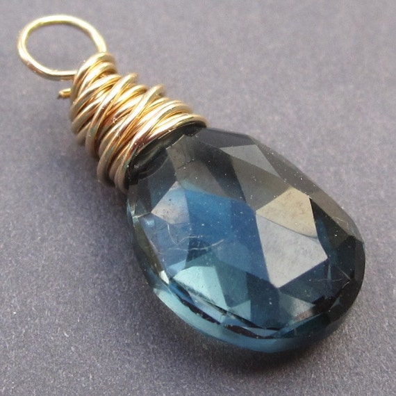 London Blue Topaz Gemstone Briolette Pendant Dangle Wire Wrapped with 14k Gold  Wire