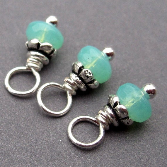 Blue Green Czech Glass Wire Wrapped Dangles with Petite Bead Caps