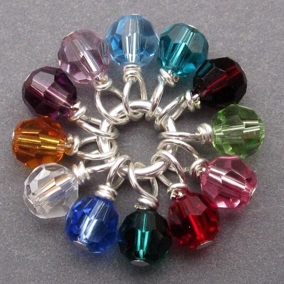 Swarovski Crystal Wire Wrapped Bead Charm Dangles Birthstone Mix 4mm