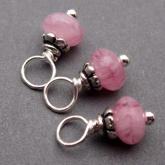 Wire Wrapped Bead Dangles Pink Swirl Czech Glass with Petite Bead Caps