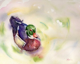Duck on a pond painting, original watercolor on watercolor paper