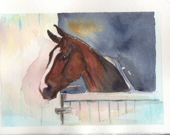 horse head in watercolor on paper