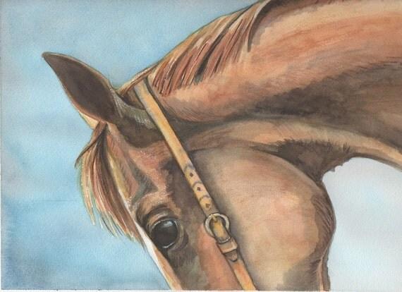 Art watercolor original painting quarter horse equine portrait Arches watercolor paper