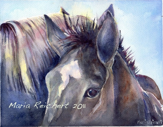 You And Me Against The World horse art watercolor original painting