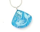 Dichroic Jewelry Fused Glass Necklace Fused Glass Pendant Fused Dichroic Glass Necklace mermaid seahorse aqua blue P579