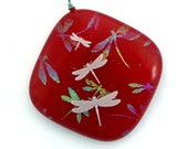Dichroic Fused Glass Pendant Necklace Fused Dichroic Glass Jewelry pastel dragonflies red P375