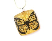 Dichroic Fused Glass Pendant Necklace Fused Dichroic Glass Jewelry butterfly polka dots sunshine yellow P538