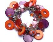 Funky Chunky charm bracelet - Lampwork, Swarovski, Pearls, Purple, Orange, Pink - Cha Cha Bracelet