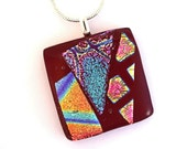 Fused glass dichroic necklace dichroic pendant dichroic jewelry red rainbow collage P623