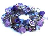 Chunky Charm bracelet - amethyst purple lavender lampwork wine roses - Cha Cha Bracelet