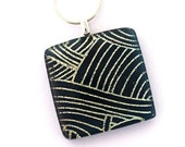 P861 Dichroic Fused Glass Jewelry Fused Dichroic Glass Pendant Necklace navy blue gold lines