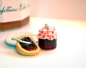 Miniature Food Earrings: Bread and Cherry Jam Jar - Miniature Food Jewelry - Miniature Jar - Kids Jewelry