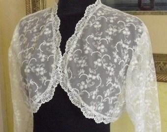 Lace Bridal Bolero Jacket White  or Black with Lining