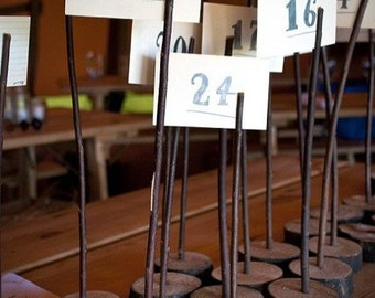 12 Wooden Table Number Holders - Wedding - Rustic / Shabby Chic / Vintage / Custom Typography / Wood Numbers Tables
