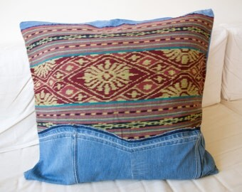 Sample Sale!  Pillow cover made from Indonesian Ikat and recycled jeans - GENUINE IKAT