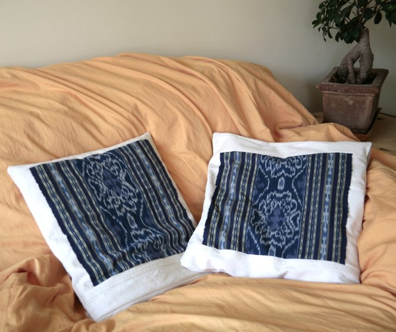 Pillow cover from Ikat textile and recycled denim - GENUINE IKAT