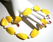 A Lovely Mod Bright Mustard Yellow White Celluloid Beaded Bauble Necklace