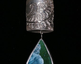 Green Crystal Pottery Silver Necklace