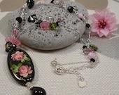 Black Pink Charm Necklace, Sterling Swarovski Czech Glass and Handpainted Black Onyx Gemstone Pendant Necklace, Asymmetric Wirewrap Necklace