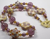 Venetian Glass Necklace,Chunky Amethyst Topaz Venetian Tequila Necklace, Precious Murano Glass Necklace w Swarovski crystal and Vermeil