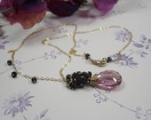 Mystic Rose w Dark Sapphire Necklace, Necklace w Facet Rose Topaz w Deep Blue Sapphire and 14kt Goldfill & Vermeil, Delicate Necklace