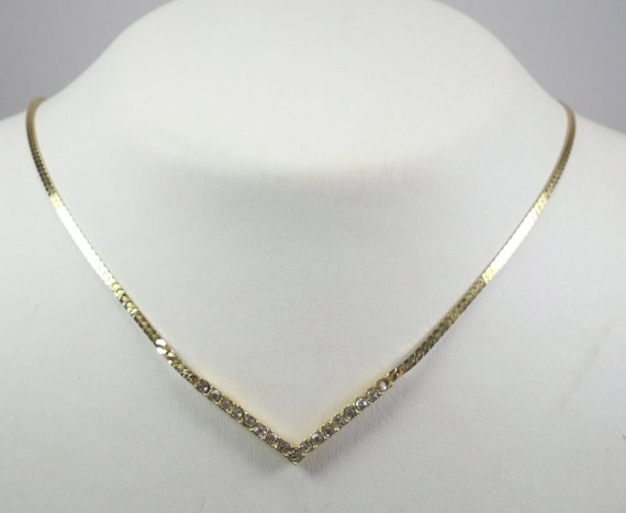 Reserved for Claire O'C - 10 Per Cent Discount - Shiny Golden V Shape Necklace with Sparkly Crystals Diamante Rhinestone....Signed Monet