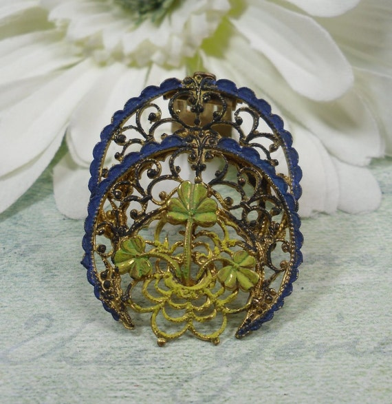 Reserved for Mary - Please do not Purchase unless you are Mary - Vintage Enamelled Shamrock Brass Filigree Fur Clip