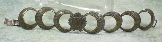 Interesting Vintage French Brass Bracelet with Motif Libertas